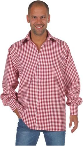 Overhemd Geruit Rood/Wit Luxe