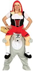 Piggyback Kostuum Roodkapje op Boze Wolf
