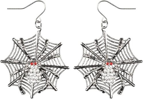 Oorbellen Ruby Spider + web