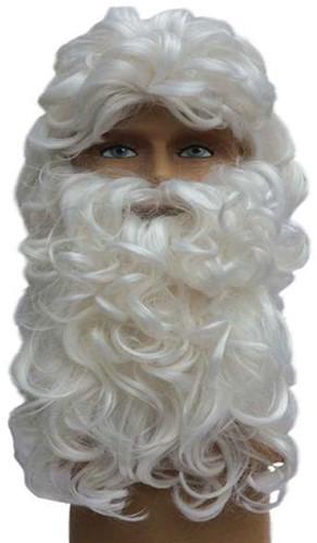 Pruik + Baard Kerstman Luxe