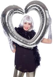 Folieballon Fotolijst Hartvormig Zilver (80x70cm)