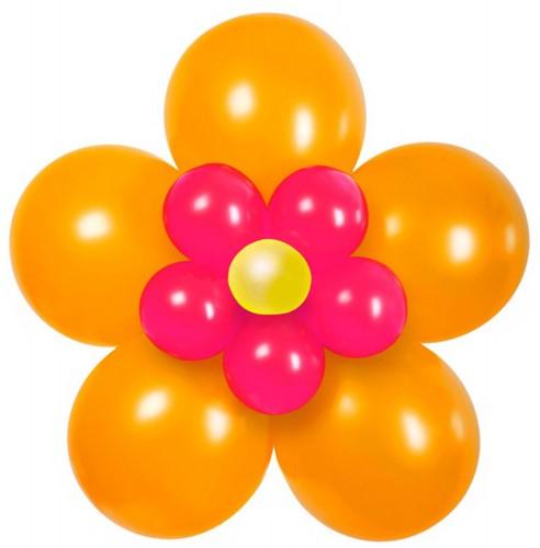 Ballondecoratie Bloem Oranje/Pink (70cm)