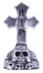 Grafsteen Kruis met Skulls en Licht (52x23cm)