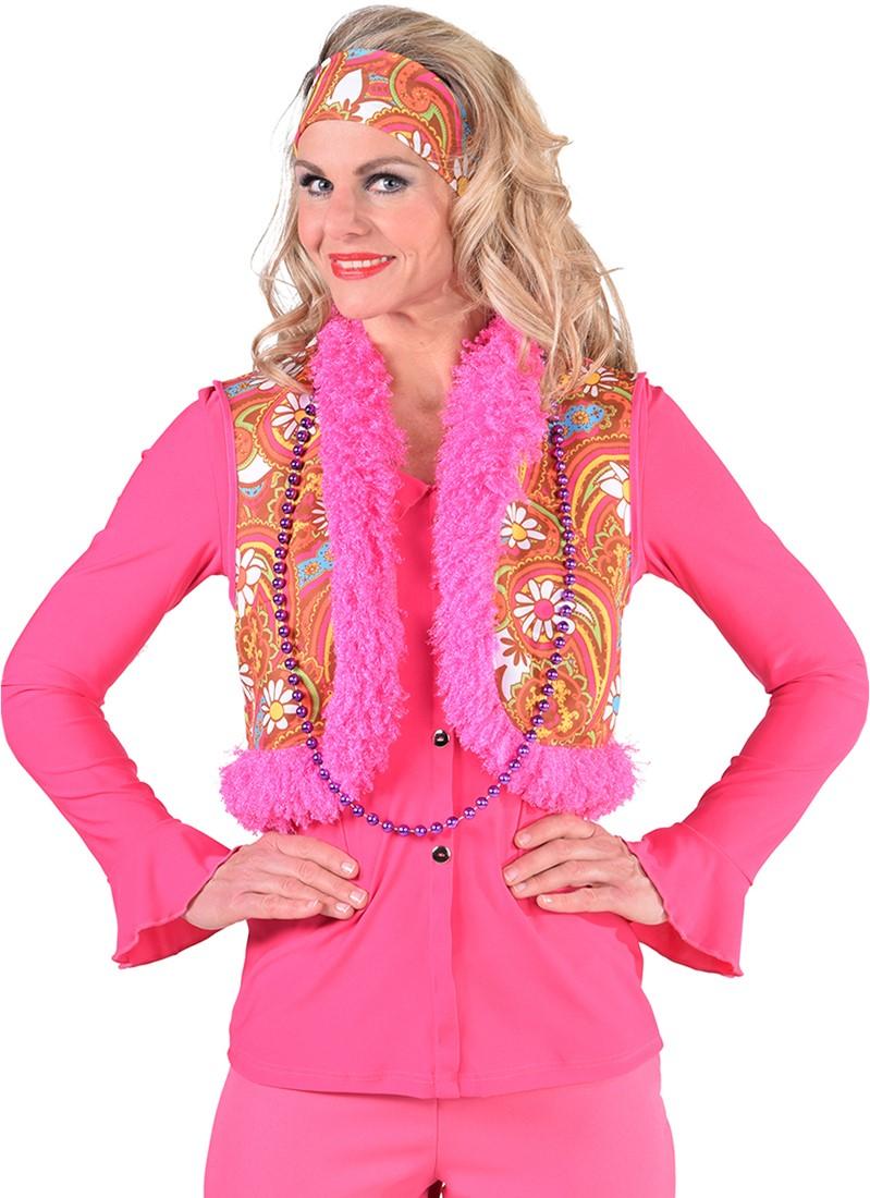 551a4ba1581 Dames Hippie Vest Paisley (Bruin Oranje)