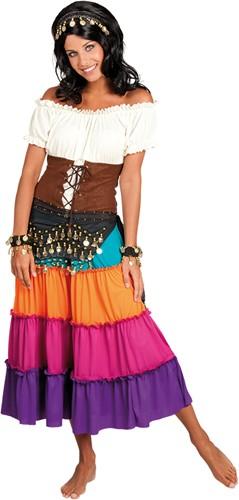 Buikdansset Zigeunerin Zwart (4 delig)