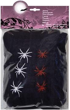 Spinrag 100gr+6 spinnen Zwart
