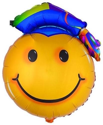Folieballon Geslaagd - Smiley met Doctoraalmuts(90x67cm)