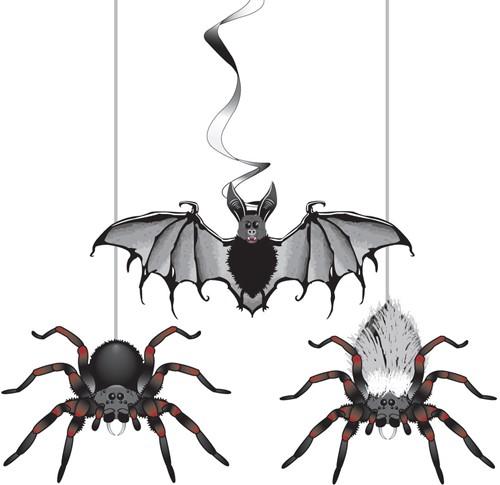 Halloween Hangdeco Vleermuis +Spinnen (3st)