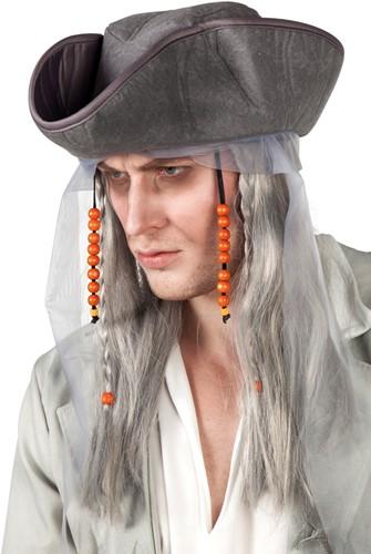 Horror Piratenpruik met Hoed