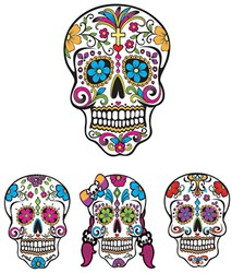 Decoratieset Sugar Skulls 4st. (Day of the Dead)