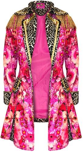 Carnavalsjas Roze Bloemen-Panter Lang voor dames