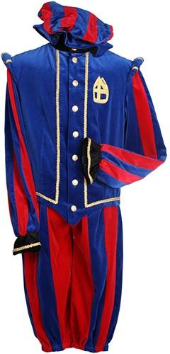 Pietenkostuum Pamplona Katoen Fluweel Rood/Blauw
