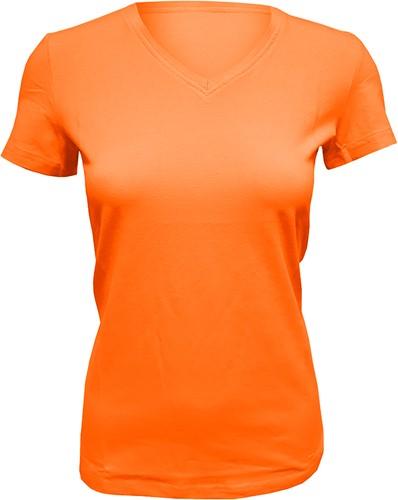 Dames T-Shirt V-Hals Oranje (Slim Fit)