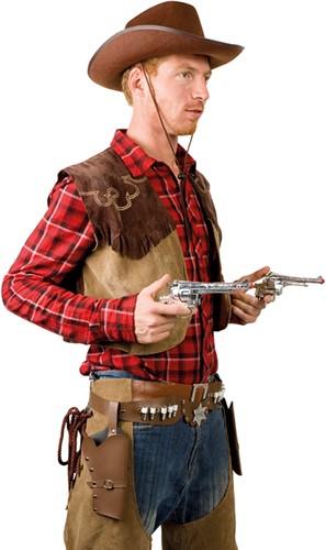 Holster Cowboy Dubbel Bruin (volwassenen)