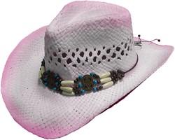 Cowboyhoed Ibiza Luxe Wit-Roze