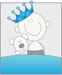 Tuinbord (verhuur) - Jongen met knuffelbeer