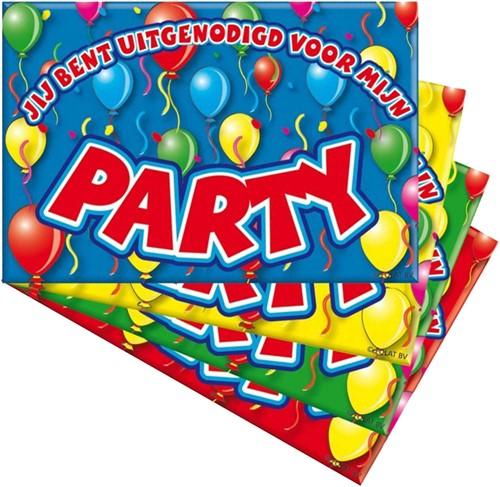 Uitnodigingen Balloons Party 8st.