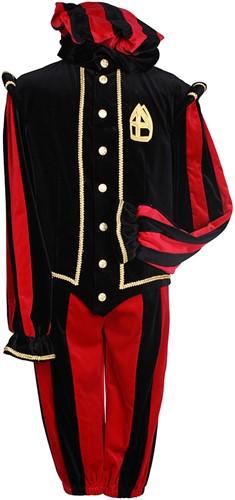 Pietenkostuum Pamplona Katoen Fluweel Zwart/Rood