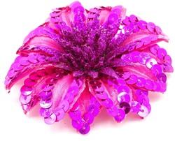 Bloemenbroche+Elastiek Pailletten Pink