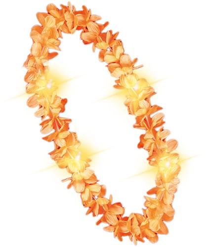 Hawaikrans met verlichting Oranje