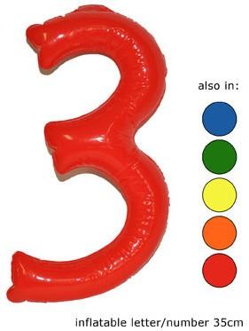 Opblaas Cijfer 3 35cm Rood