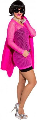 Nethemd Lang Luxe Neon Pink