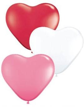 Hartballonnen Rood-Wit-Roze 38 cm 100 stuks