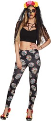 Legging Day of the Dead Zwart met Sugar Skulls