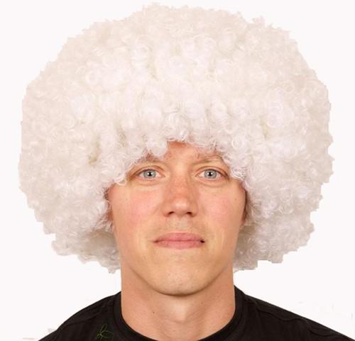 Pruik Afro Groot Wit