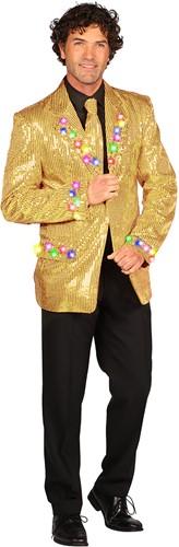 Heren Pailletten Colbert Goud met LED-verlichting