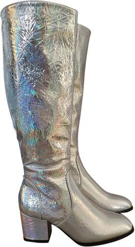 Disco Laarzen Metallic Hologram Zilver