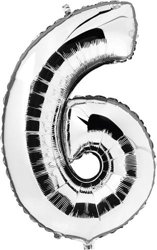 Folieballon Cijfer 6 Zilver 100cm