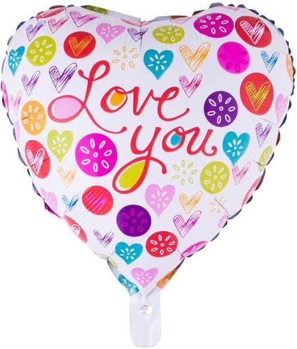 Folieballon Love You - Hart (46cm)