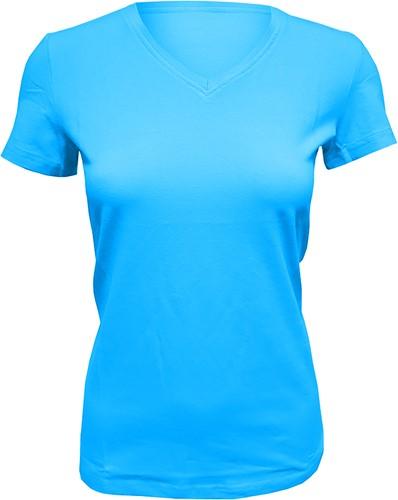 Dames T-Shirt V-Hals Turquoise (Slim Fit)