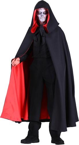 Halloween Cape met Capuchon Luxe Zwart-Rood
