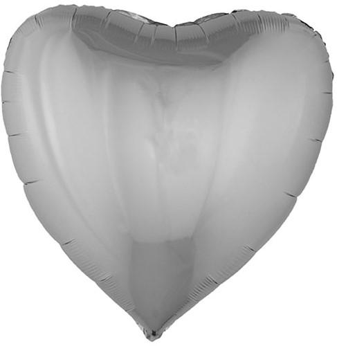 Folieballon Hartje XL Metallic Zilver (80x75cm)