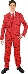 Heren Kostuum Kamasutra Rood-Zwart