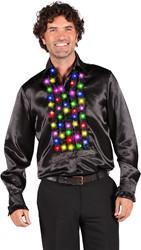 Disco Ruches Blouse Zwart met LED-Verlichting