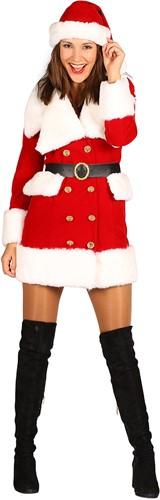 Dameskostuum Kerstmeisje Nieve Luxe (Fluweel)