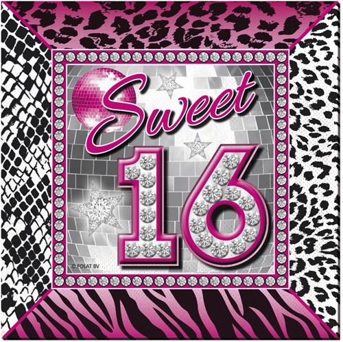 Servetten Sweet 16 Tijger-Diamanten 20st.