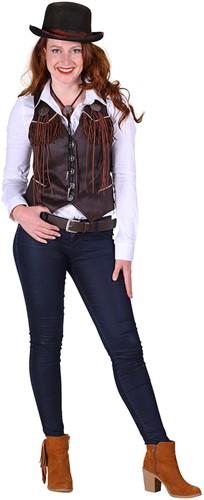 Dames Cowboyvest Bruin Luxe
