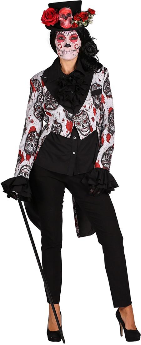 Halloween Dames Slipjas Mexican Skull Blackwhite