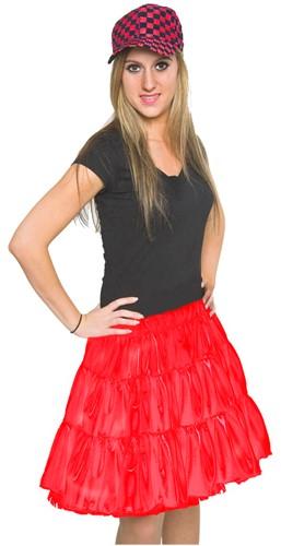 Rokje Satijn +Petticoat Rood