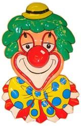 Wanddeco Clown Hoofd Gele Bolhoed (70x45cm)