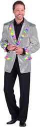 Heren Pailletten Colbert Zilver + LED-verlichting