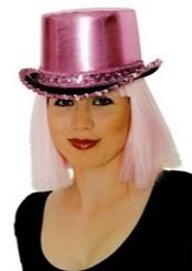 Hoge Hoed Metallic + Pailletten Pink