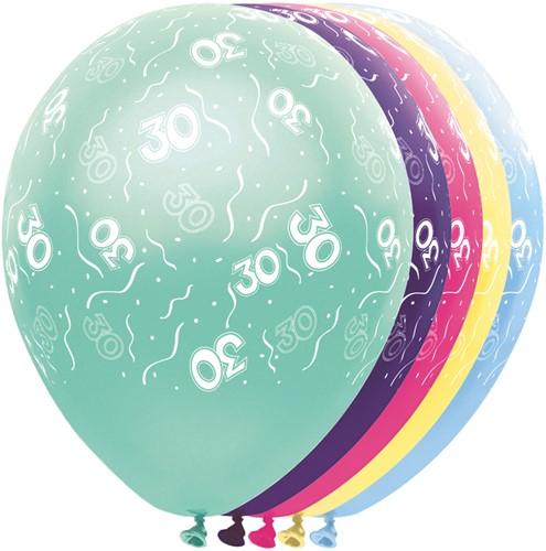 Ballonnen 30 jaar Metallic 5st