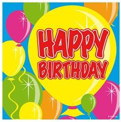Servetten Balloons Happy Birthday 20st. 25x25cm