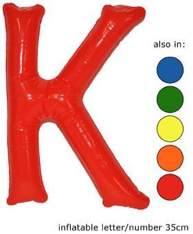 Opblaas Letter K 35cm Oranje