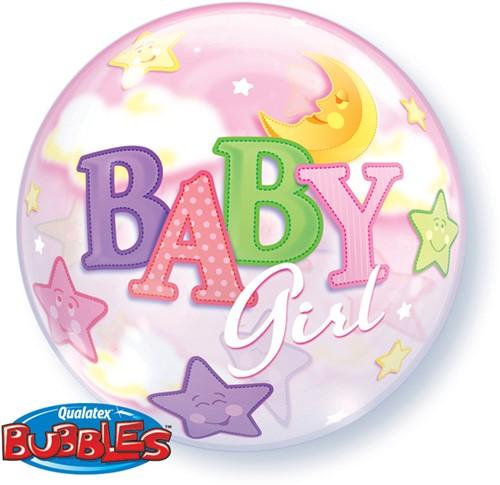 Bubble Ballon Baby Girl Moon Stars